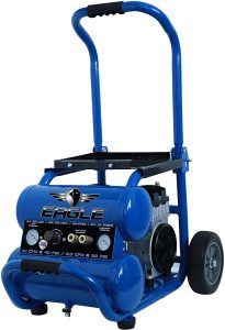 Eagle EA-5000 Silent Series 5000 Air Compressor 125 psi MAX Side Stack with wheels, Blue, 5 gallon